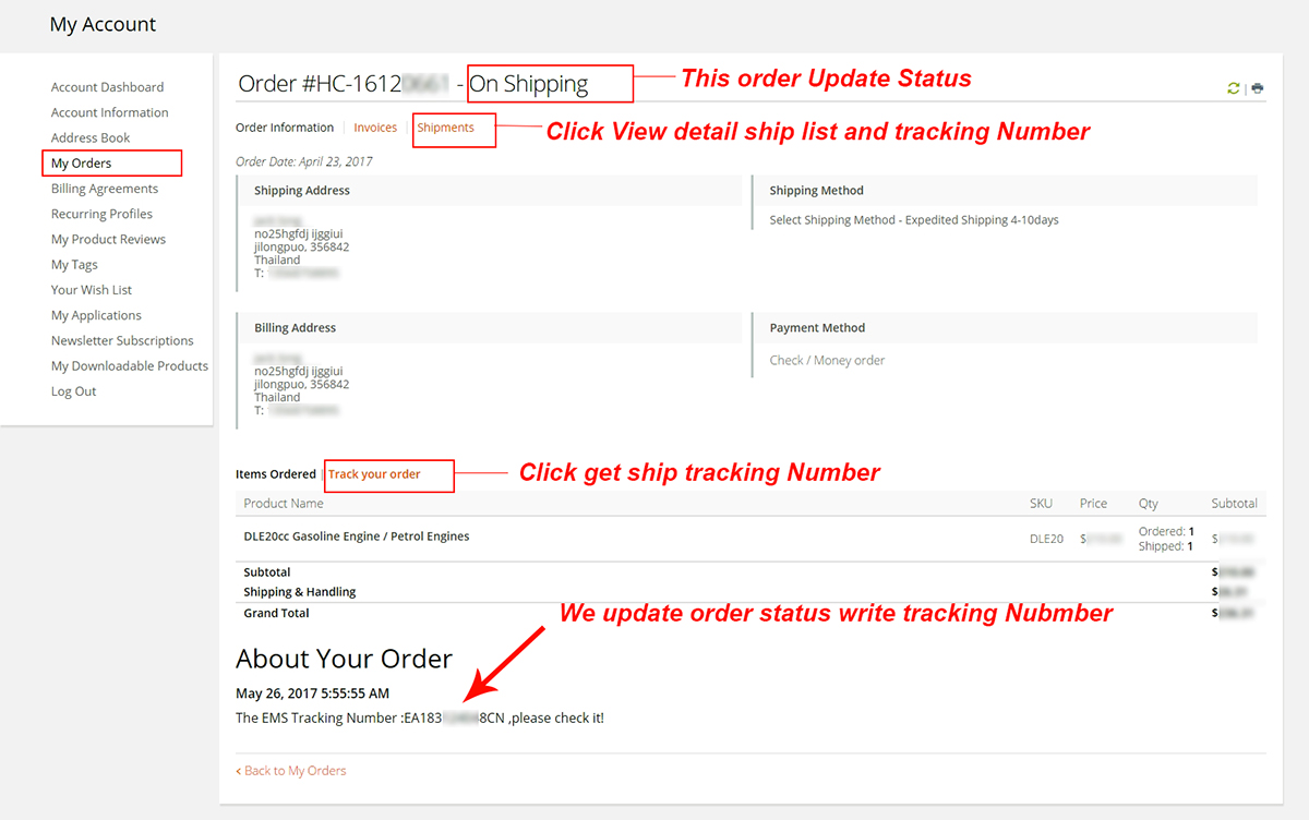 hobby china my order buy ship tracking Number