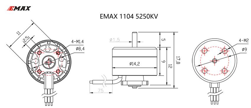 EMAX RS1104 5250KV Brushless Motor + T2345 3 Blades propellers