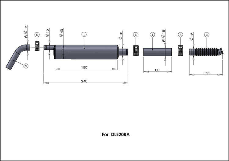 DLE20 RA Muffler Canister Set for DLE20RA