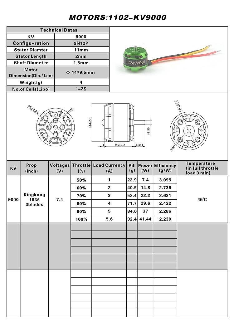 Happymodel SE1102 KV9000 Brushless Motor for Mantis 85 Racing Drone